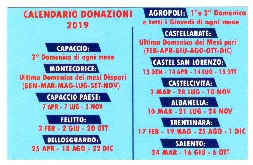 Calendario Avis.Calendario Donazioni 2019 Avisprovinciale It